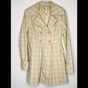 Tulle Double Breasted Pastel Plaid Jacket Sz M